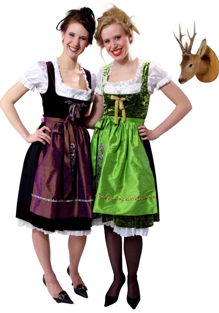 Samtherz Dirndlkleider Schwarze Kirsche und Grünes Edelweiss mit Taftschürzen