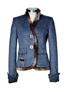 grau-blaue Trachtenjacke mit Pelzbesatz