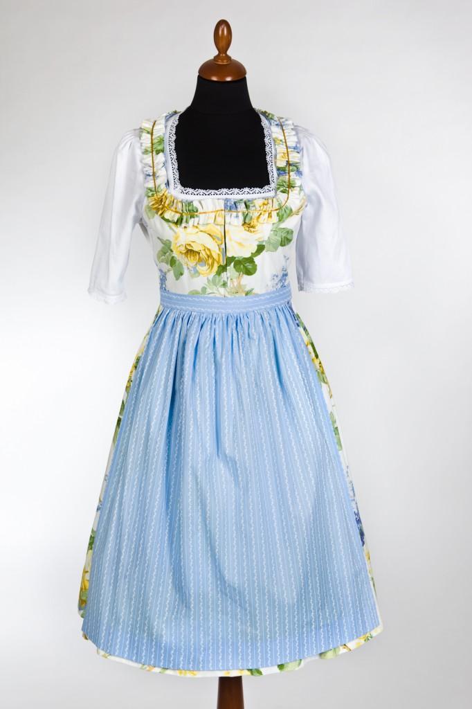 Lena Hoschek Dirndl für den Herbst 2011: Gelbe Rosen mit blauer Schürze