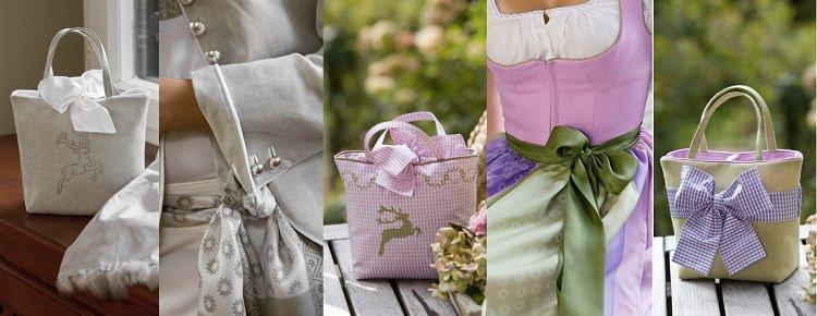 Dirndl und Trachtentaschen in den Trendfarben dieser Saison: Pink, Lila, Lindgrün, Tannengrün, Rosa mit Braun kombiniert, Rot und Orange, Aqua und Dunkelblau, Grau, Beige und Weiß.