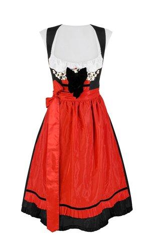 Dirndl rot/schwarz mit Perlenstickerei