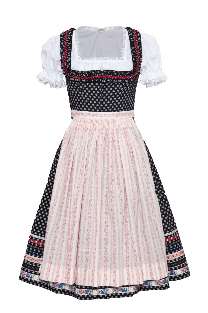 Dirndl schwarz mit weißen Punkten, rosa Schürze