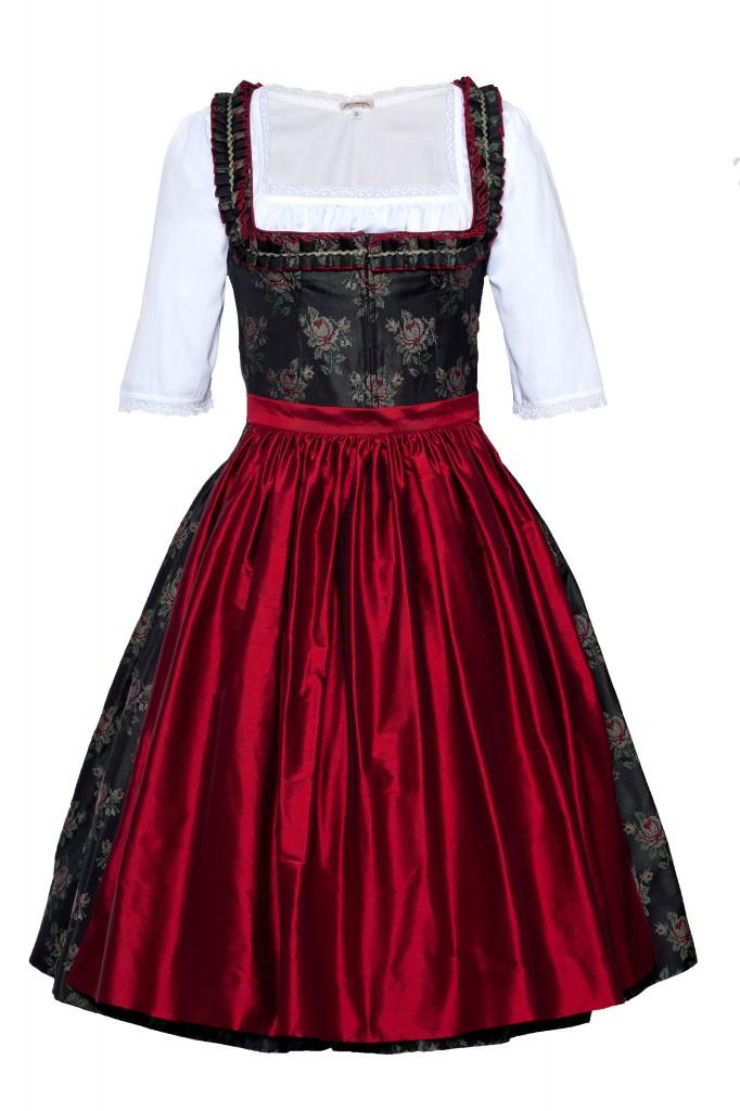 Rosendirndl schwarz mit roter Dirndl
