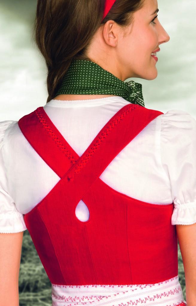 Gössl Dirndl rot mit Leinenmieder und Rock aus Baumwolle
