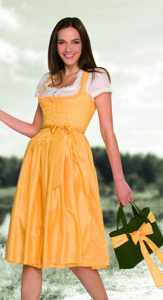 Gössl Dirndl gelb mit Seidenschürze