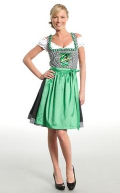 MarJo Dirndl kariert mit grüner Schürze, Mini Dirndl