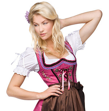 Dirndl rosa mit brauner Schrze