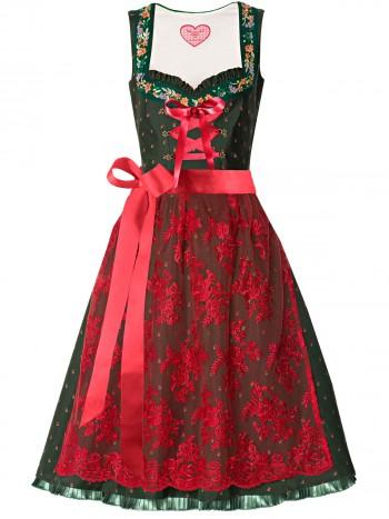 Dirndl Smaragdgrün, Dirndlschürze rot, Dirndl Kollektion 2013 von LIMBERRY